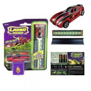 LazerRacerz Игрален комплект Количка със светлинен двигател и писта - червена