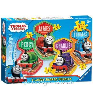 Ravensburger ПЪЗЕЛ за деца с влакчето ТОМАС и приятели от Thomas & Friends Large Shaped puzzle 4в1 - 072385