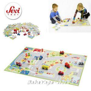 Пъзел - Игра ГРАД с триизмерни фигурки с марката Sevi Puzzle city with miniatures - 82624