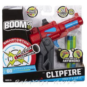 BOOMCo Бластер с 2 стрели Клипфайр на Бумко MATTEL CLIPFIRE BCT10