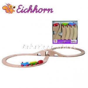 Eichhorn Дървено влакче с релси и мост 290см, Айхорн, 100002037
