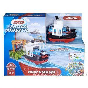 Fisher Price Игрален комплект Водно пътешествие, Thomas & Friends Boat & Sea Set от серията TrackMaster, FJK49