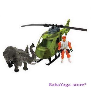 Комплект фигури Е-ТЕАМ Хеликоптер и Слон от Wild Republic - 89291