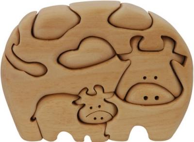 Пъзел дървен 3D - Крава (семейство)