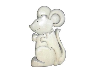 Пъзел дървен 3D - Мишка
