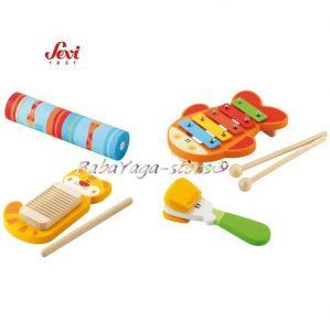 Музикална дървена играчка - РИТМИ с марката Sevi - 82671 Set Rhythm & Sound