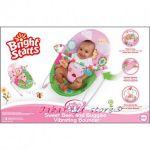 Bright Starts Шезлонг за бебе с вибрации ПЧЕЛИЧКИ от серията Pretty in Pink, 60254