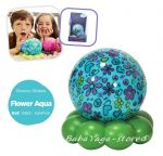 7453 CLOUD_B Groovy Globe™ - Aqua Flowers and Hearts