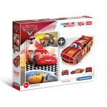 Clementoni Puzzle 104 elements + 3D MODEL Cars, Super color, 20160