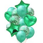 Balloon Birthday Party Bouquet with Confetti: Green, 14pcs