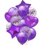 Balloon Birthday Party Bouquet with Confetti: Lila, 14pcs