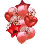 Balloon Birthday Party Bouquet with Confetti: Red, 14pcs