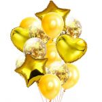 Balloon Birthday Party Bouquet with Confetti: Yellow, 14pcs