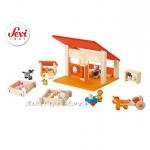 КОНЮШНЯ дървена игра с мини фигурки Stable от Sevi - 82506