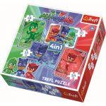 Trefl Пъзел Catboy и отбора 4в1 (207ч.), PJ Masks Trefl puzzle, 34291