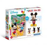 Clementoni Пъзел и 3D модел на Мики Маус (104ч.), SuperColor 3D Vision Mickey Mouse puzzle, 20157
