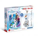 Clementoni Пъзел и 3D модел на Замръзналото Кралство (104ч.), SuperColor 3D Vision Frozen puzzle, 20159