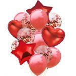 Детски Балони Букет с конфети (14бр.), Balloons Bouquet Confetti, red
