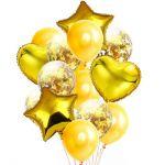 Детски Балони Букет с конфети (14бр.), Balloons Bouquet Confetti, yellow