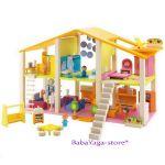 КЪЩА за Кукли от дърво обзаведена с мебели голяма от Sevi, 82381